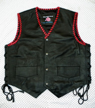 Mens Leather Vest Braided Style MLVB732