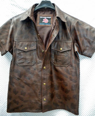 Leather Short Sleeve Shirt LS210 distressed style WWW.LEATHER-SHOP.BIZ front open collar pic