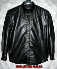 Leather shirt style LS032 black www.leather-shop.biz front pic