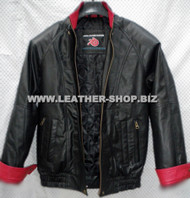 Leather Jacket Bomber Style MLJ0032B French Cuffs Custom Made In 8 Colors