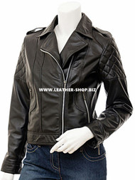 Ladies Leather Jacket Custom Made Diamond Stitch Style LLJ601 Made In 8 Colors