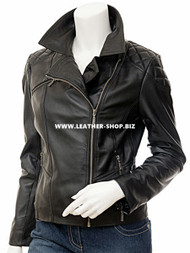 Ladies Leather Jacket Custom Made Diamond Stitch Style LLJ603 Made In 8 Colors