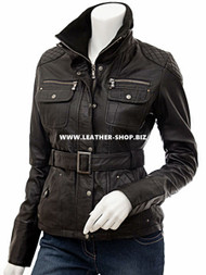 Ladies Leather Jacket Custom Made Diamond Stitch Style LLJ604 Made In 8 Colors