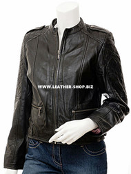 Ladies Leather Jacket Custom Made Diamond Stitch Style LLJ605 Made In 8 Colors