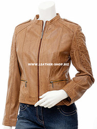 Ladies Leather Jacket Custom Made Diamond Stitch Style LLJ606 Made In 8 Colors