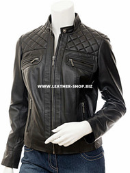 Ladies Leather Jacket Custom Made Diamond Stitch Style LLJ607 Made In 8 Colors