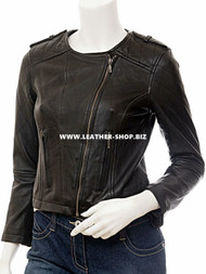 Ladies Leather Jacket Custom Made Diamond Stitch Style LLJ608 Made In 8 Colors