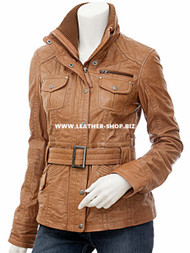 Ladies Leather Jacket Custom Made Diamond Stitch Style LLJ609 Made In 8 Colors