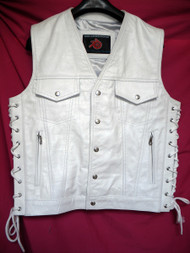 Mens Leather Vest Style MLV1335 no seams on back