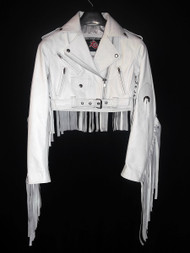 Ladies Leather Fringe Jacket Custom Made Style LLFJ1707S Available In 8 Colors