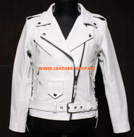 Ladies Leather Jacket Custom Made Biker Style LLJ007 Made In 8 Colors