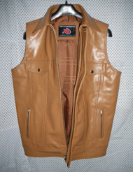 Mens Leather Vest Custom Made Style MLVL15 available in 7 colors