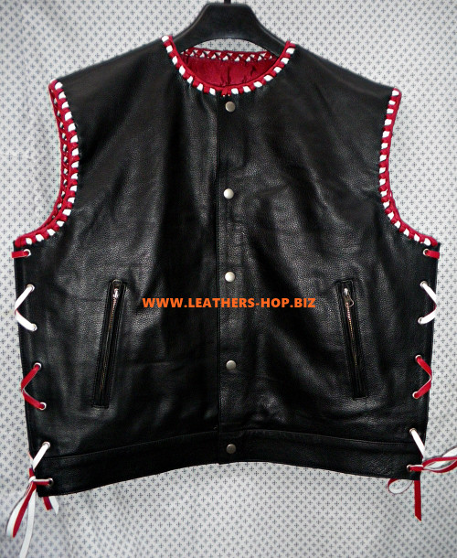 Mens Leather Vest Braided Style MLVB750 Two Color