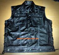 Lambskin Leather Sleeveless Shirt Custom Made Style LS270