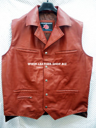 Mens Leather Vest Western Style MLV88 2 gun pockets, longer back