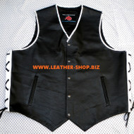Mens Leather Vest Braided Style MLVB741 No Seams