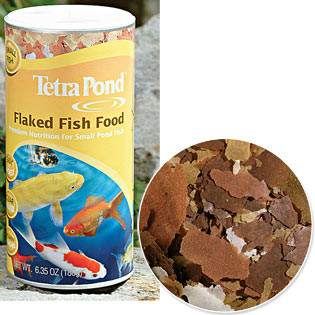 Flaked fish food is easily digested by smaller Goldfish and Koi