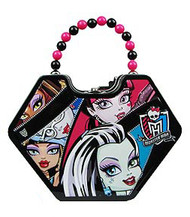 Monster High Faces Diamond Shaped Purse with Beaded Handle Tin