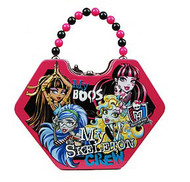Monster High Skeleton Crew Diamond Shaped Purse with Beaded Handle Tin