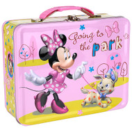 Disney Minnie Mouse Going to Park Large Embossed Carry All Tin Lunch Box