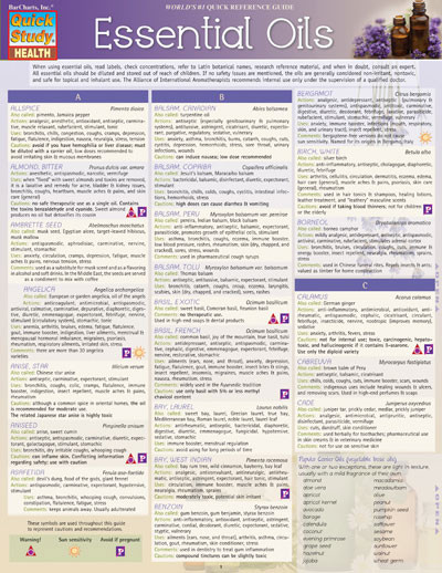 Essential Oils Chart Clinical Charts And Supplies