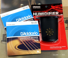 D'Addario EJ16 light gauge strings set w Planet Waves guitar humidifier Package