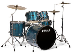 Tama Imperialstar 5-Piece Drum Set with Cymbals Hairline Blue Package