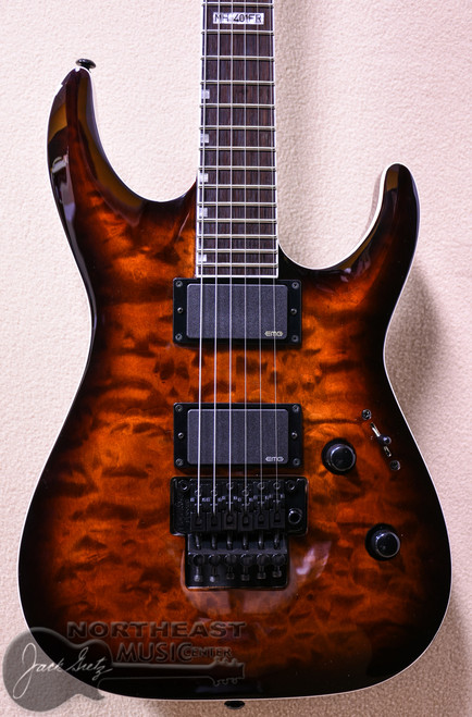 ESP/LTD MH-401 Electric Guitar with Floyd Rose Bridge in Dark Brown Sunburst (LMH401FRQMDBSB)