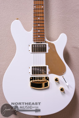 Ernie Ball Music Man Valntine in Limited Edition Ivory White with Bound Roasted Maple Neck and Gold Hardware. (570 IW C1 GA CS GD)