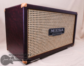 Mesa Boogie 2X12 Recto Horizontal Closed Back Cabinet in Wine Taurus with Wicker Grille and Tan Leather Corners (0.212R.V26.G07.P03.H01.C02.V30)