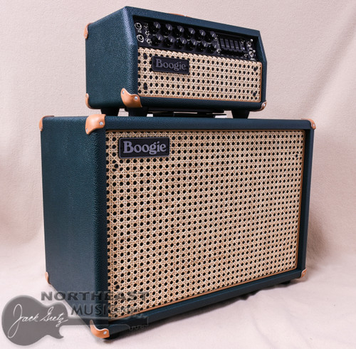 Mesa Boogie Mark V:25 Amplifier Head and Matching 1x12 Widebody Cab in Emerald Bronco with Wicker Grille and Tan Leather Corners