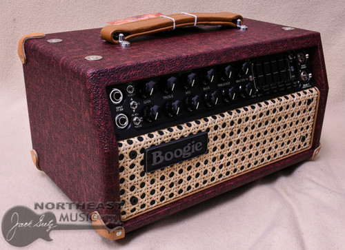 Mesa Boogie Mark V:25 Amplifier Head in Bordeaux with Wicker Grille and Tan Leather Corners (2.MM.117D.V25.G07.P03.H04.C02)