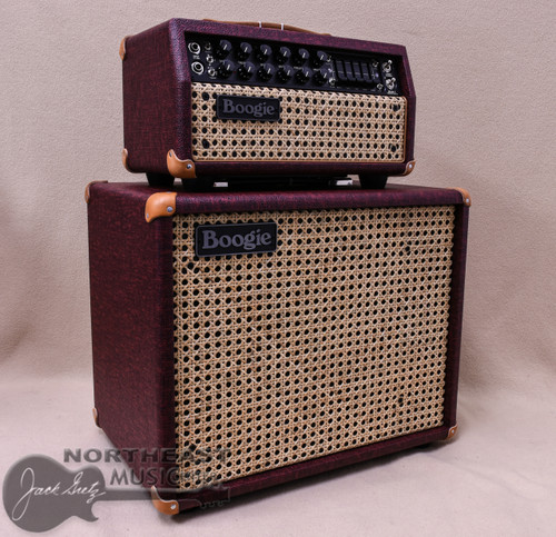 Mesa Boogie Mark V:25 Amplifier Head and Matching 1x12 Theil Cabinet in Vintage Bordeaux Bronco with Wicker Grille and Tan Leather Corners