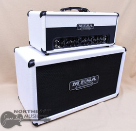 Mesa Boogie Triple Crown TC-100 100-watt Tube Guitar Amplifier Head in Hot White Bronco with Black Grille with Matching 212 Recto Horizontal Cabinet (TC-100-Hot.White.Stack)