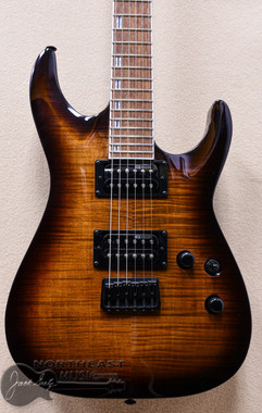 ESP/LTD LH-200FM Electric Guitar in Dark Brown Sunburst