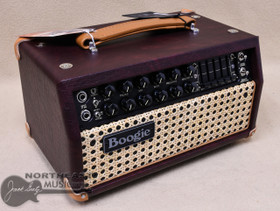Mesa Boogie Mark V:25 Amplifier Head in Wine Taurus with Wicker Grille and Tan Leather Corners and Handle