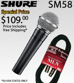 SHURE SM58 LC DYNAMIC VOCAL MICROPHONE with 20 MIC CABLE SPECIAL