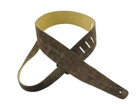 Henry Heller embossed suede guitar strap in brown
