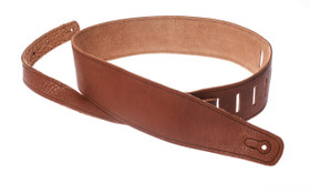 """Henry Heller 2.5"""" tobacco glove tan leather guitar strap with contrasting stitching"""