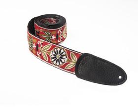 Henry Heller art deco guitar strap in kiwi color combination- beautiful strap!
