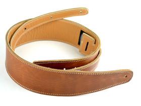 "Pete Schmidt 2.5"" wide guitar strap in Vintage Brown with cream stitching"