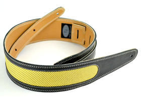 """Pete Schmidt 2.5"""" black leather guitar strap with an awesome tweed inlay"""