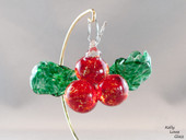 Glass Holly Ornament