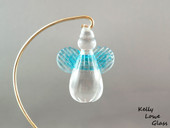 Light blue hanging glass angel by Kelly Lowe.