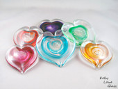 Hand Sculpted Aventurine Glass Hearts - Kelly Lowe Glass.