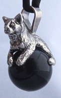 Kitten on the Onyx Ball Pendant