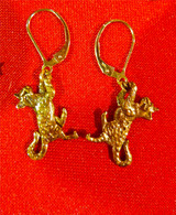 Bengal Cat Earrings Leverback 14kt