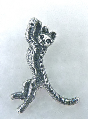 Savannah Leopard Cat Charm Sterling Silver