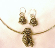Ragdoll Cat Pendant and earrings 14k Gold