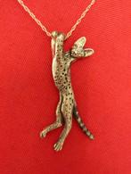 Serval Cat Pendant 14kt